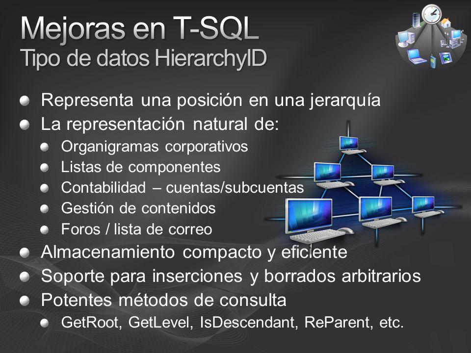 Mejoras en T-SQL Tipo de datos HierarchyID