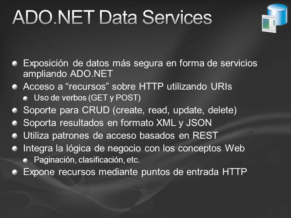 ADO.NET Data Services Exposición de datos más segura en forma de servicios ampliando ADO.NET. Acceso a recursos sobre HTTP utilizando URIs.