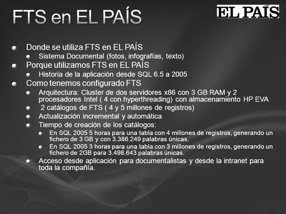 FTS en EL PAÍS Donde se utiliza FTS en EL PAÍS