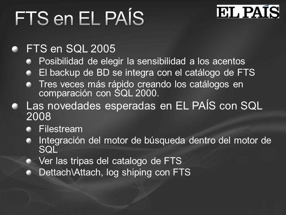 FTS en EL PAÍS FTS en SQL 2005. Posibilidad de elegir la sensibilidad a los acentos. El backup de BD se integra con el catálogo de FTS.