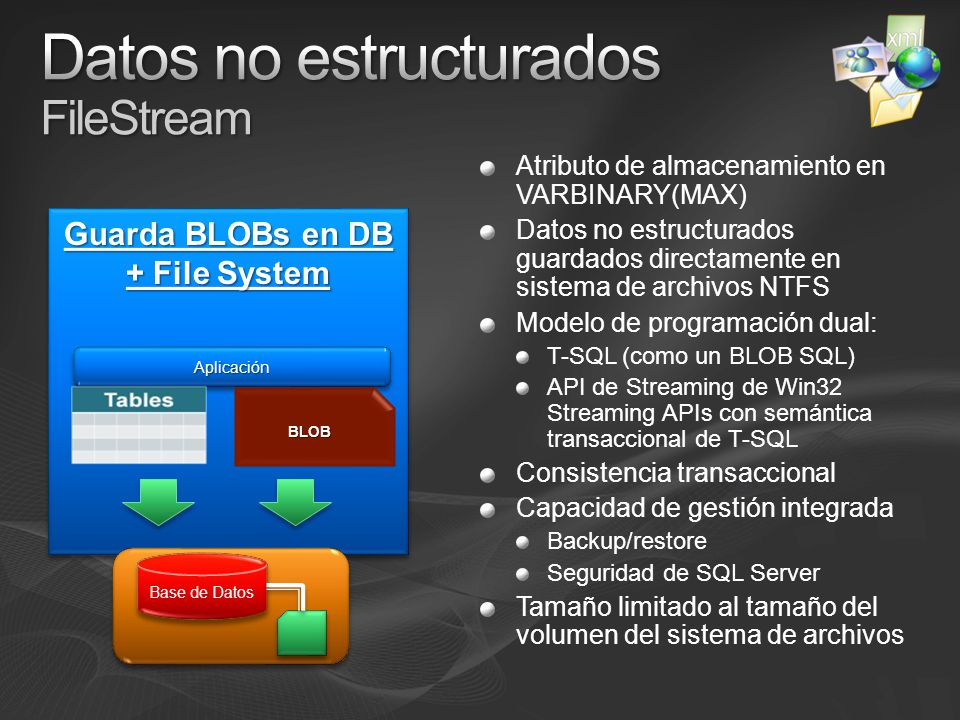 Datos no estructurados FileStream