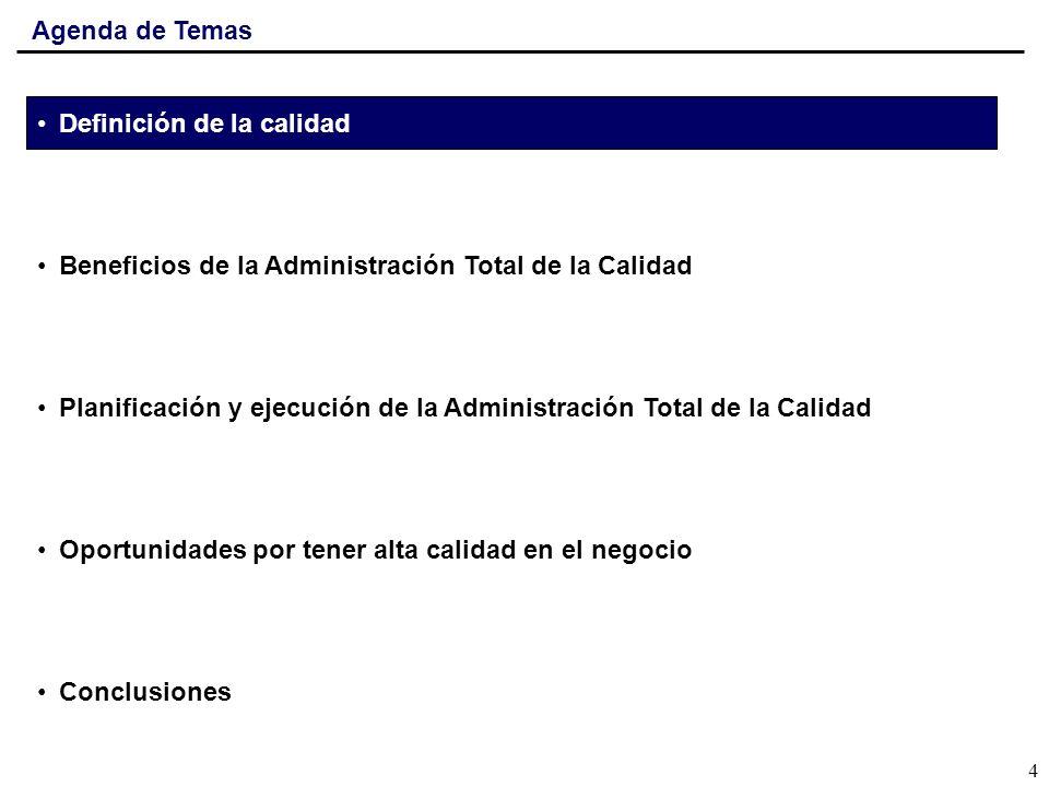 Agenda de TemasDefinición de la calidad. Beneficios de la Administración Total de la Calidad.