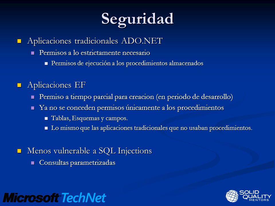 Seguridad Aplicaciones tradicionales ADO.NET Aplicaciones EF