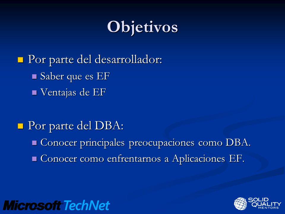 Objetivos Por parte del desarrollador: Por parte del DBA: