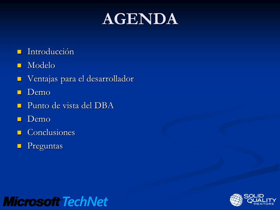 AGENDA Introducción Modelo Ventajas para el desarrollador Demo
