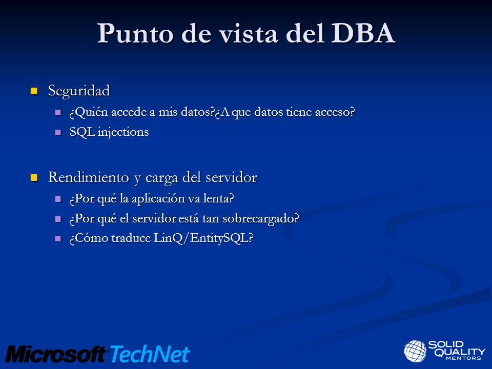 Punto de vista del DBA Seguridad Rendimiento y carga del servidor
