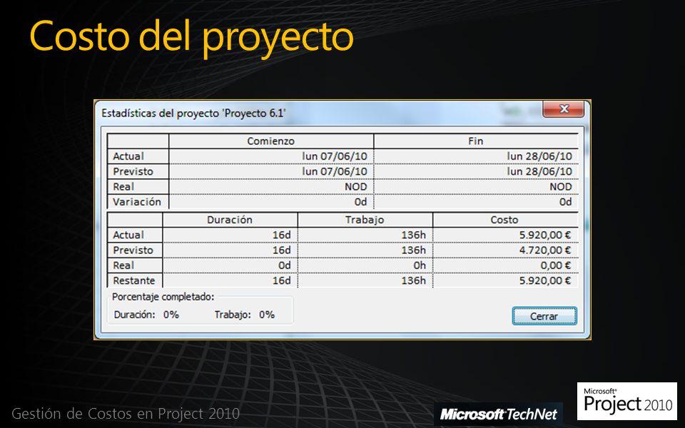 Costo del proyecto Gestión de Costos en Project 2010