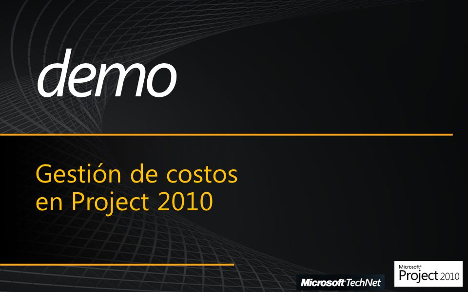Microsoft SharePoint Conference 2009 Gestión de costos en Project 2010