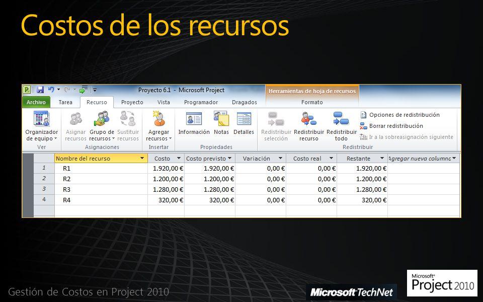 Costos de los recursos Gestión de Costos en Project 2010