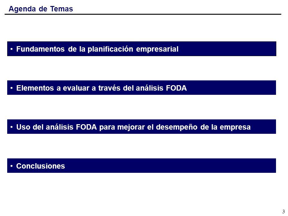 Agenda de Temas Fundamentos de la planificación empresarial. Elementos a evaluar a través del análisis FODA.