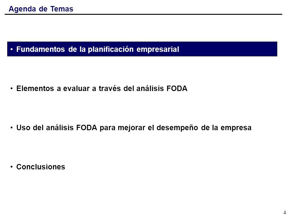 Agenda de TemasFundamentos de la planificación empresarial. Elementos a evaluar a través del análisis FODA.
