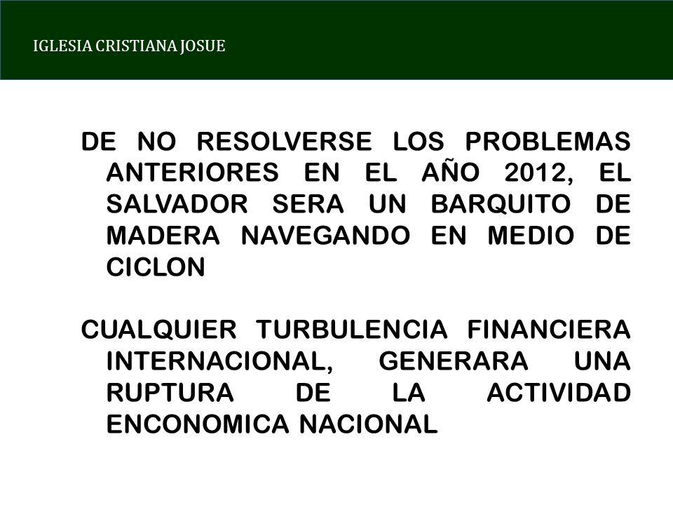 DE NO RESOLVERSE LOS PROBLEMAS ANTERIORES EN EL AÑO 2012, EL SALVADOR SERA UN BARQUITO DE MADERA NAVEGANDO EN MEDIO DE CICLON