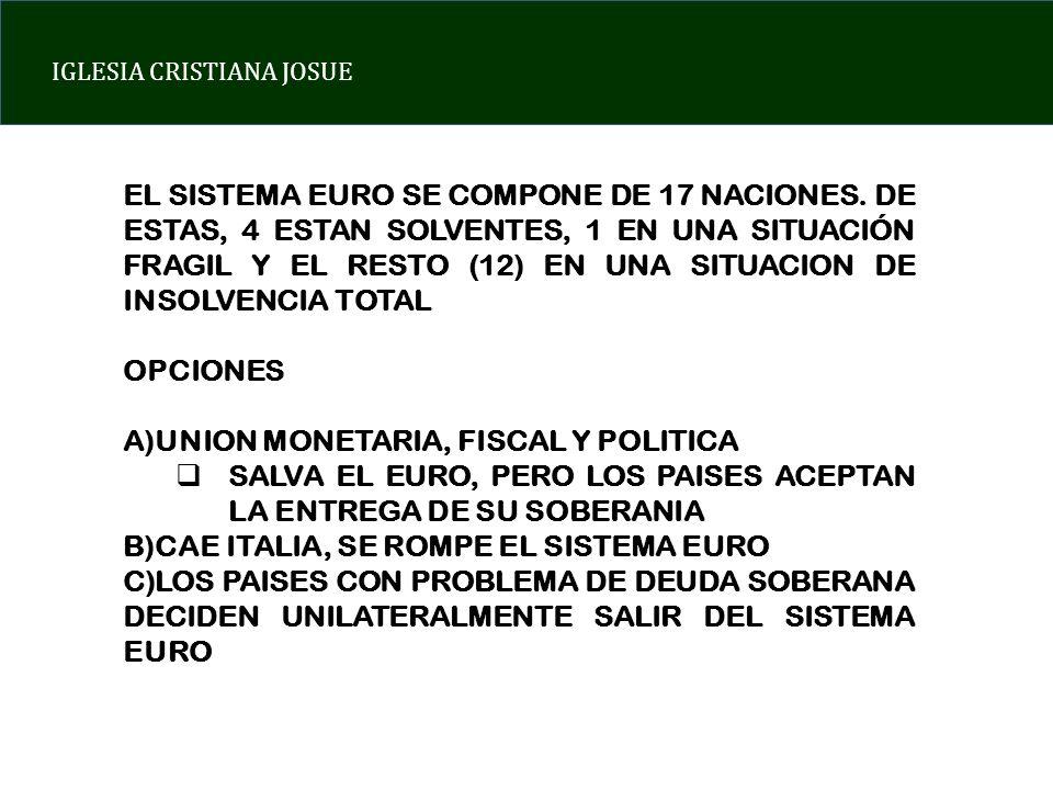 EL SISTEMA EURO SE COMPONE DE 17 NACIONES