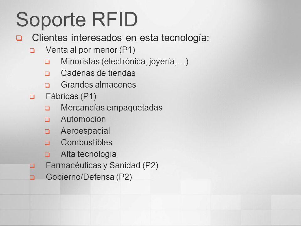 Soporte RFID Clientes interesados en esta tecnología: