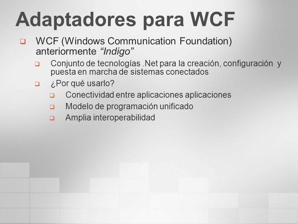 Adaptadores para WCF WCF (Windows Communication Foundation) anteriormente Indigo