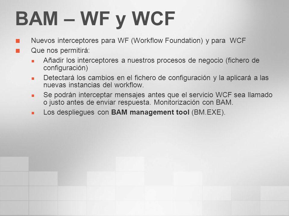 BAM – WF y WCF Nuevos interceptores para WF (Workflow Foundation) y para WCF. Que nos permitirá: