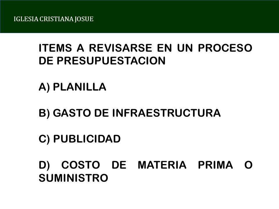 ITEMS A REVISARSE EN UN PROCESO DE PRESUPUESTACION