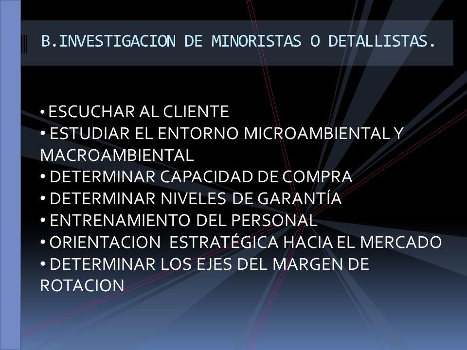 B.INVESTIGACION DE MINORISTAS O DETALLISTAS.