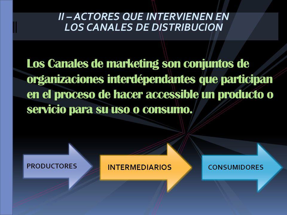II – ACTORES QUE INTERVIENEN EN LOS CANALES DE DISTRIBUCION