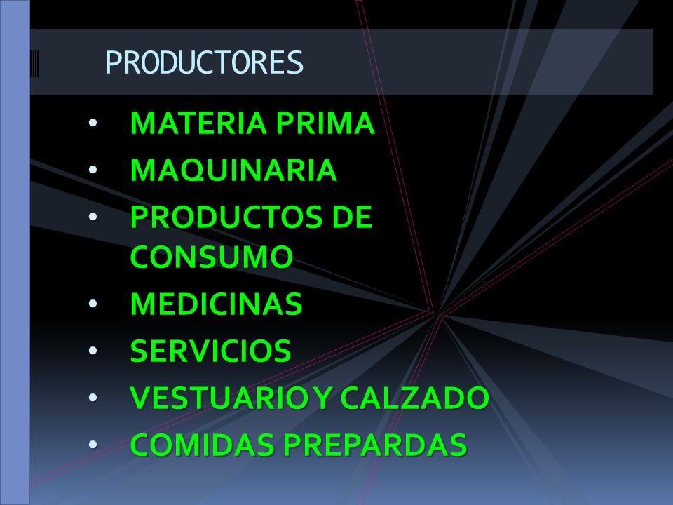 PRODUCTORES MATERIA PRIMA MAQUINARIA PRODUCTOS DE CONSUMO MEDICINAS