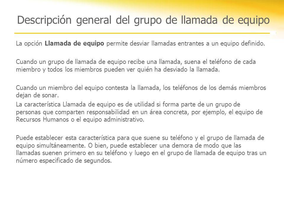 Descripción general del grupo de llamada de equipo