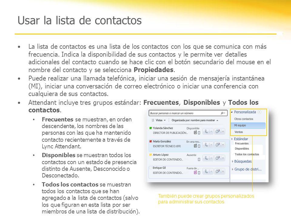 Usar la lista de contactos