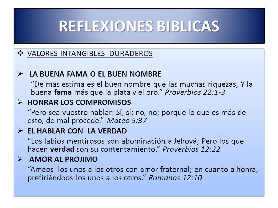 REFLEXIONES BIBLICAS VALORES INTANGIBLES DURADEROS
