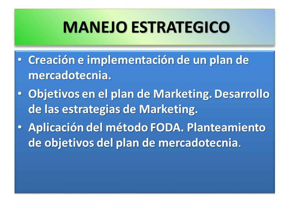 MANEJO ESTRATEGICO Creación e implementación de un plan de mercadotecnia.