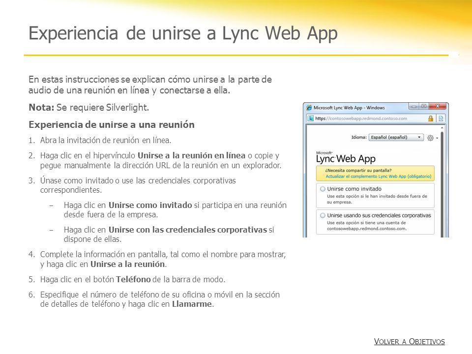 Experiencia de unirse a Lync Web App