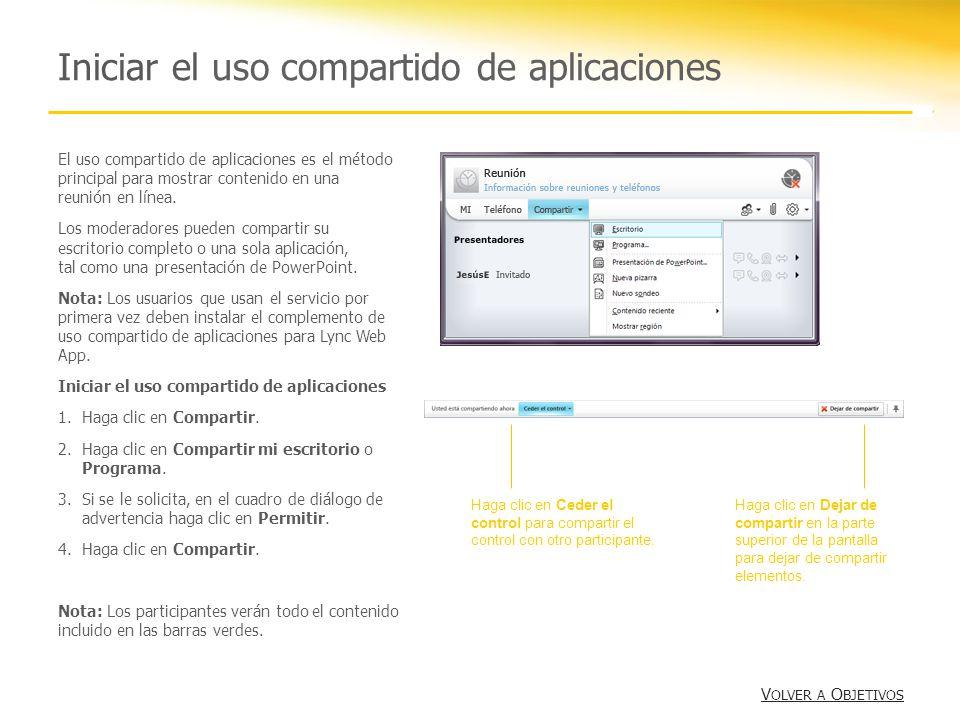 Iniciar el uso compartido de aplicaciones