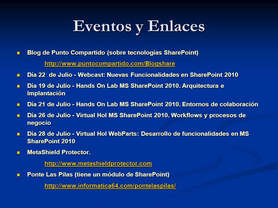 Eventos y Enlaces Blog de Punto Compartido (sobre tecnologías SharePoint) http://www.puntocompartido.com/Blogshare.