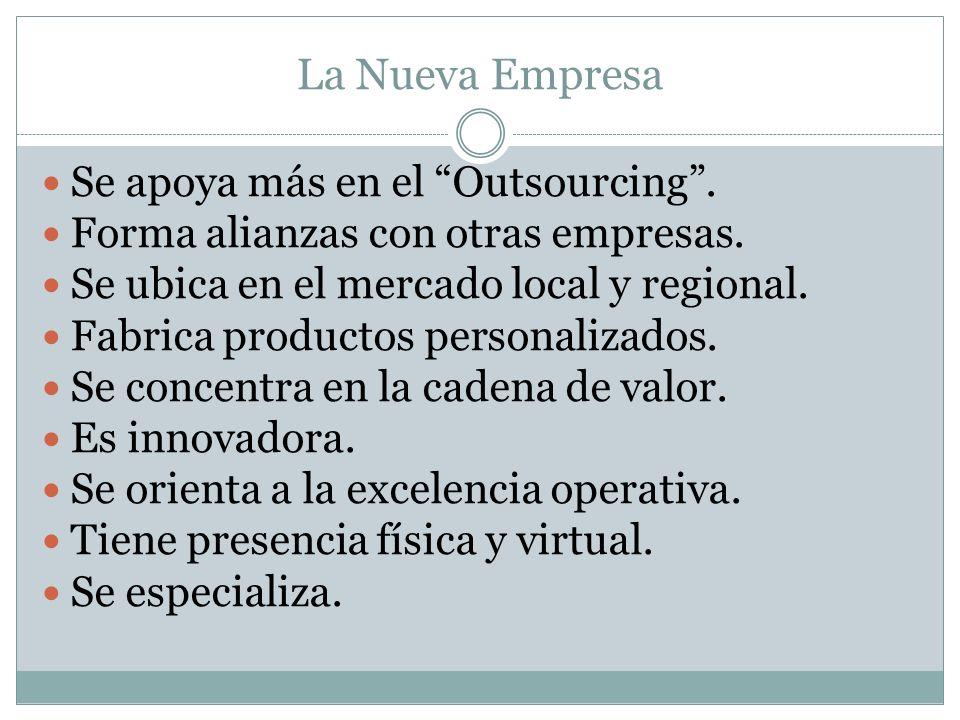 La Nueva Empresa Se apoya más en el Outsourcing .
