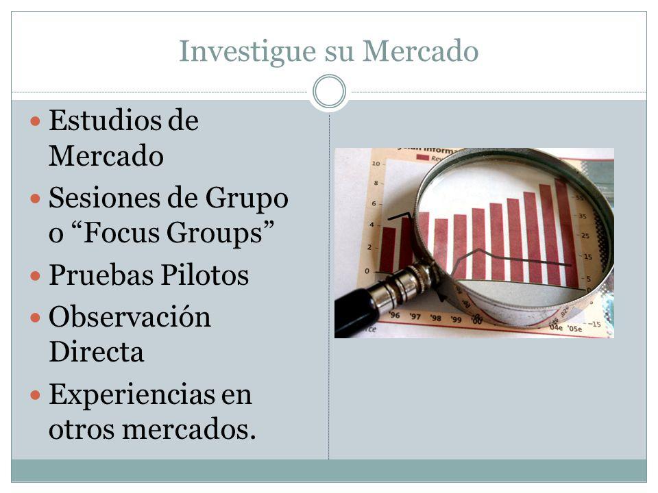 Investigue su Mercado Estudios de Mercado