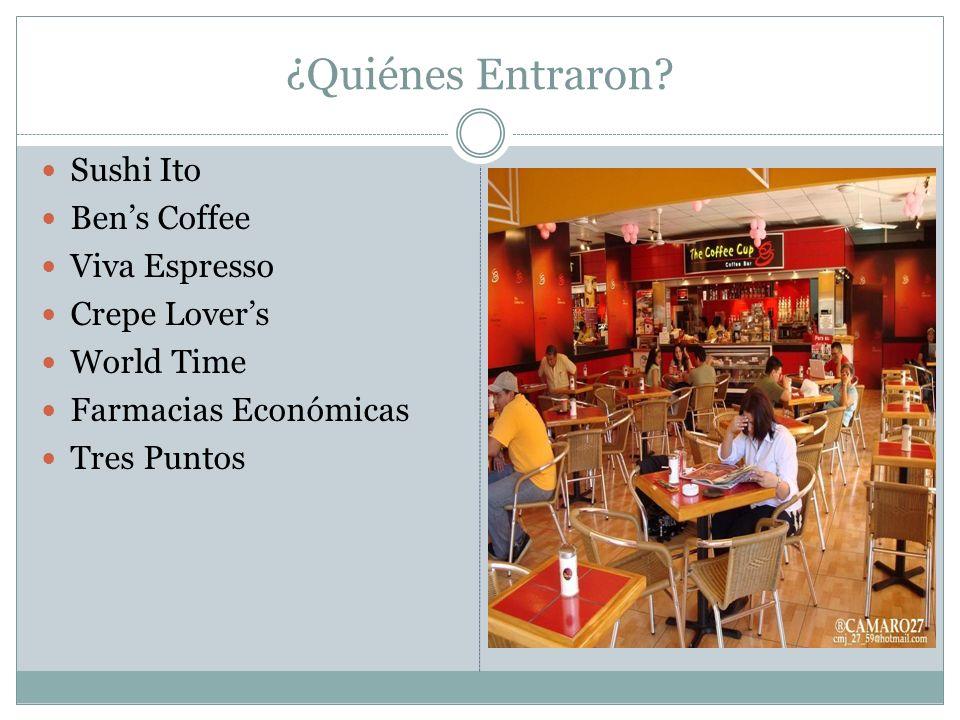 ¿Quiénes Entraron Sushi Ito Ben's Coffee Viva Espresso Crepe Lover's