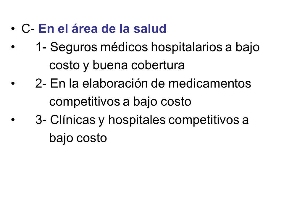 C- En el área de la salud1- Seguros médicos hospitalarios a bajo. costo y buena cobertura. 2- En la elaboración de medicamentos.