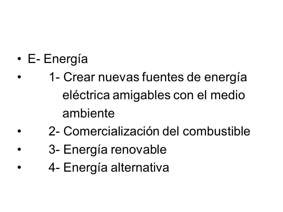 E- Energía1- Crear nuevas fuentes de energía. eléctrica amigables con el medio. ambiente. 2- Comercialización del combustible.