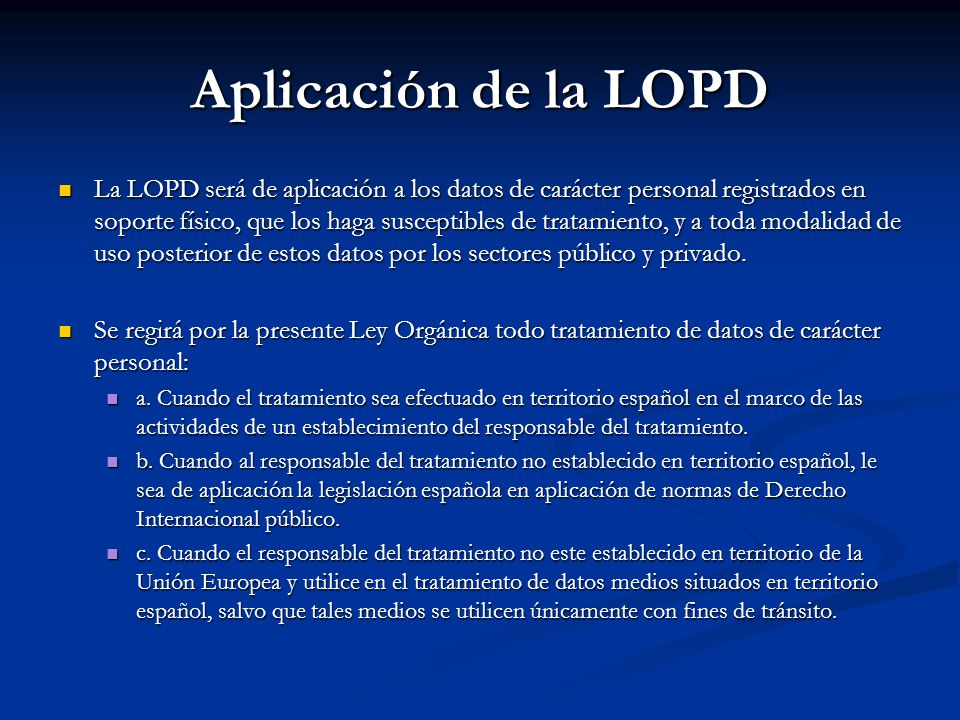 Aplicación de la LOPD