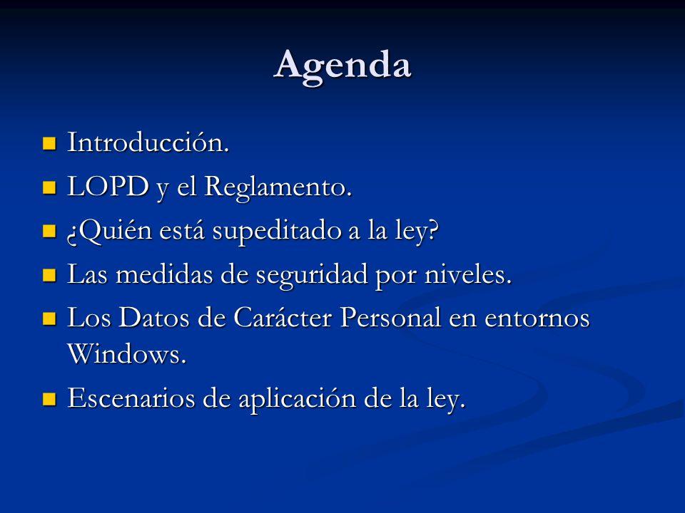 Agenda Introducción. LOPD y el Reglamento.