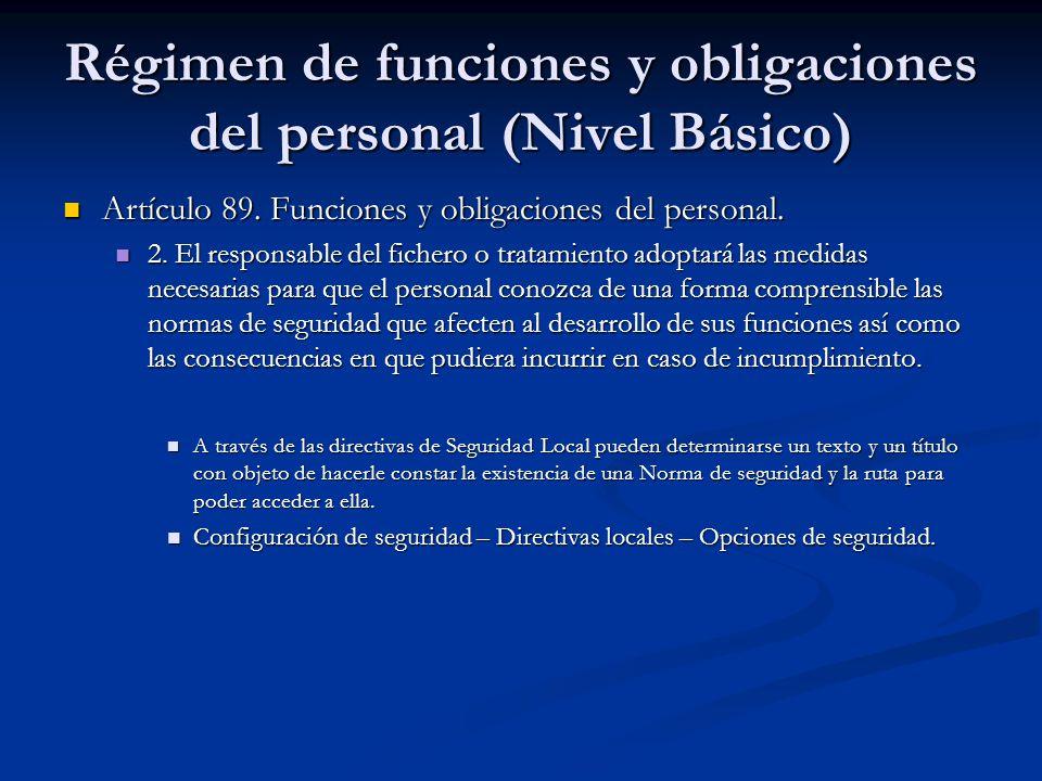 Régimen de funciones y obligaciones del personal (Nivel Básico)
