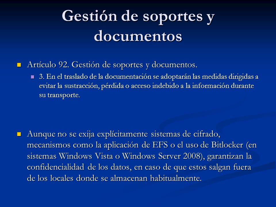Gestión de soportes y documentos