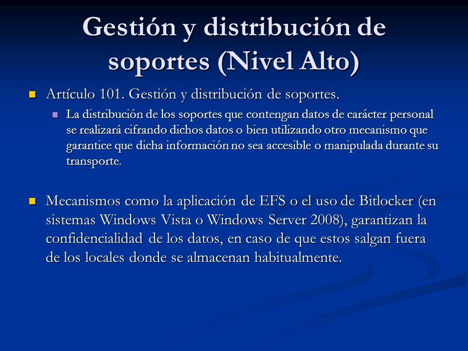 Gestión y distribución de soportes (Nivel Alto)