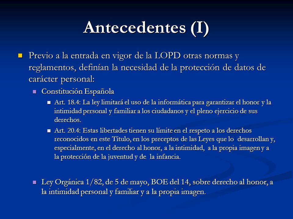 Antecedentes (I)
