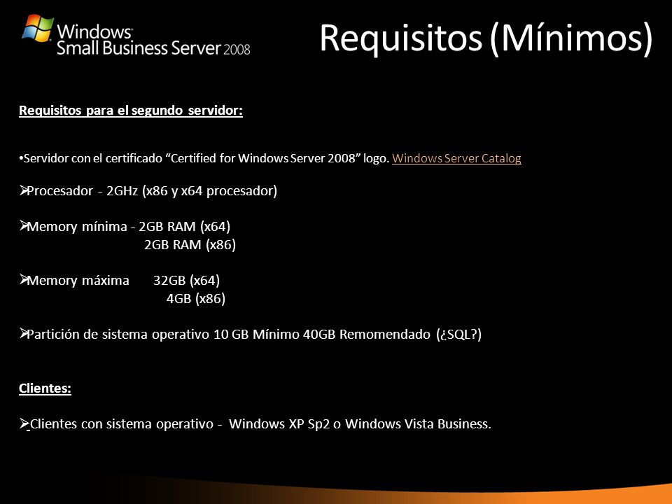 Requisitos (Mínimos) Requisitos para el segundo servidor: