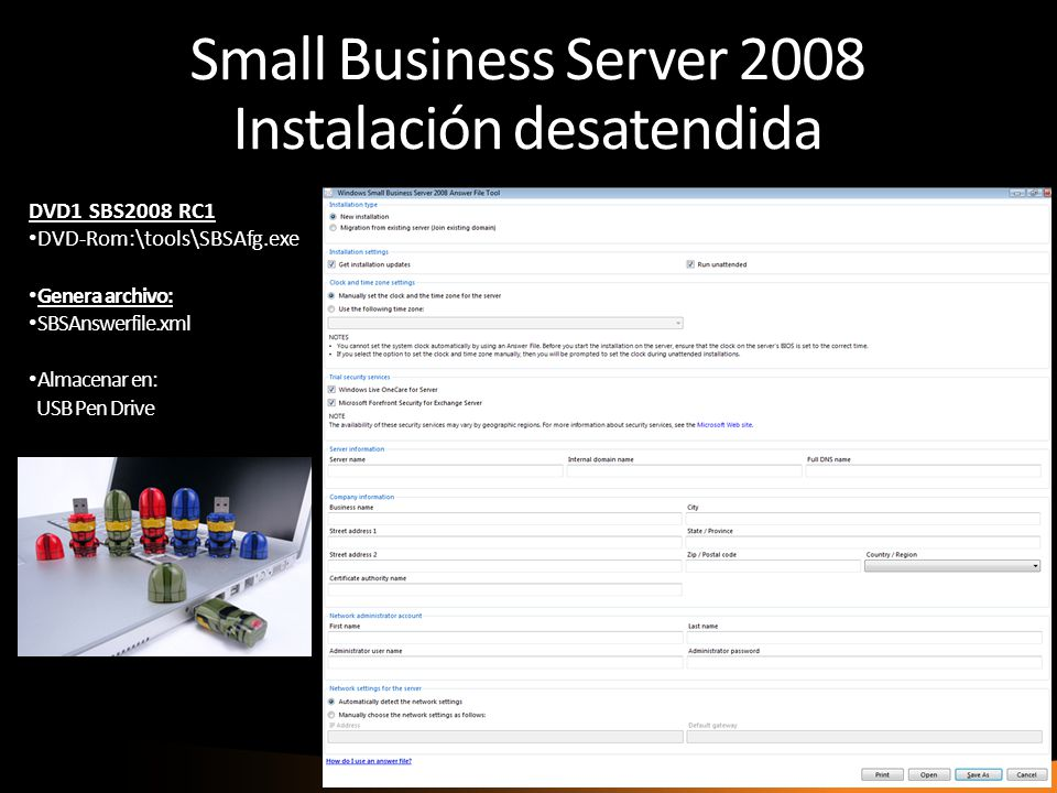 Small Business Server 2008 Instalación desatendida