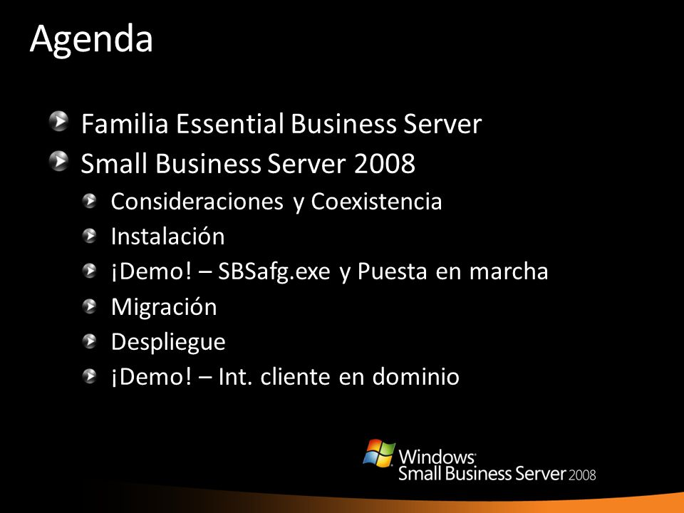 Agenda Familia Essential Business Server Small Business Server 2008
