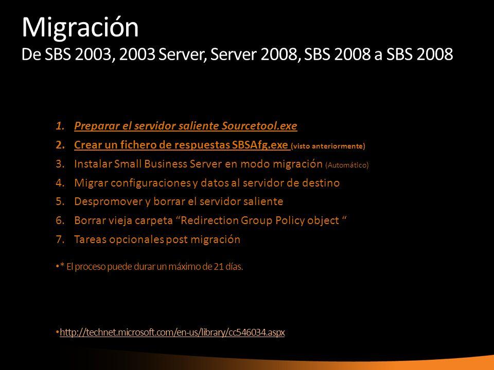 Migración De SBS 2003, 2003 Server, Server 2008, SBS 2008 a SBS 2008