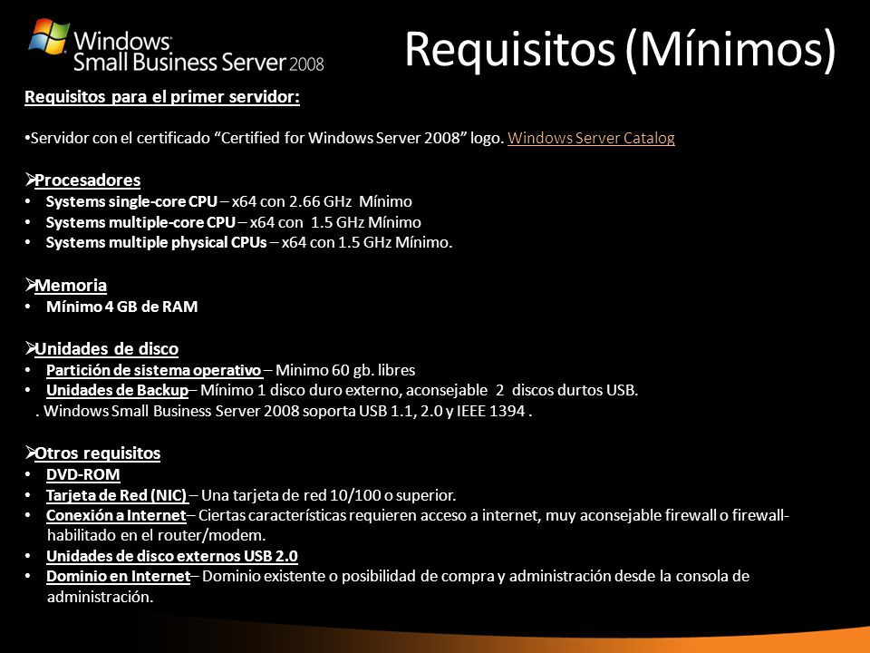 Requisitos (Mínimos) Requisitos para el primer servidor: Procesadores