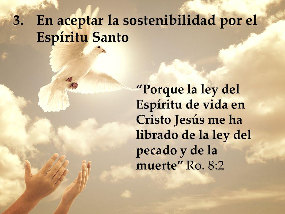 En aceptar la sostenibilidad por el Espíritu Santo