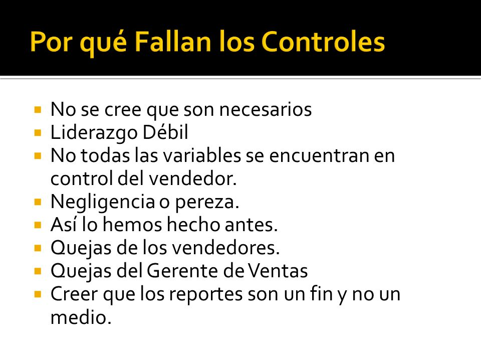 Por qué Fallan los Controles
