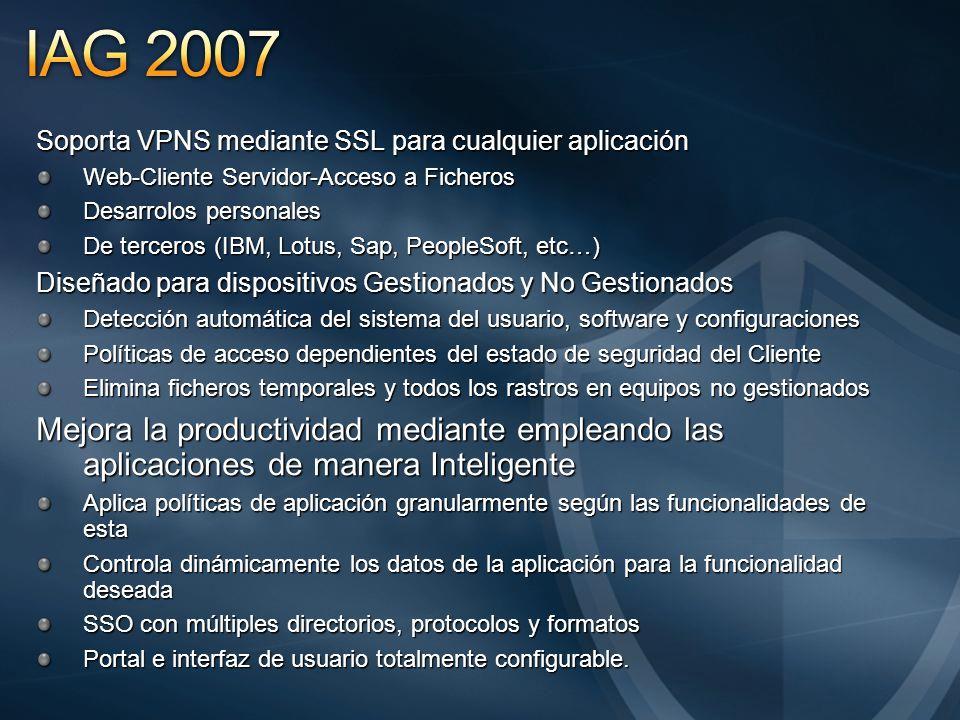 IAG 2007 Soporta VPNS mediante SSL para cualquier aplicación. Web-Cliente Servidor-Acceso a Ficheros.
